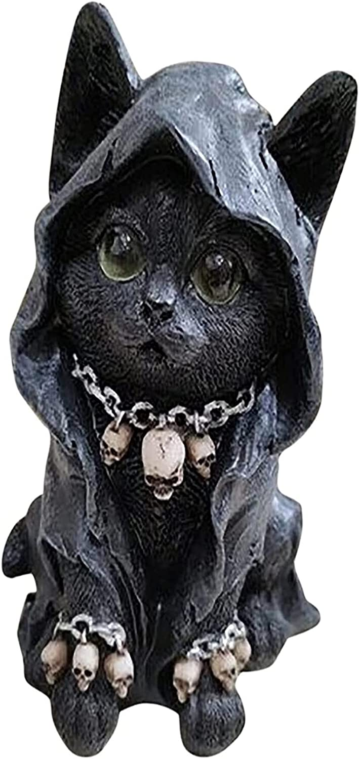 Grim Cat Figurine Cute Black Statue Fort Worth Mall Baltimore Mall Feline Cloaked Re