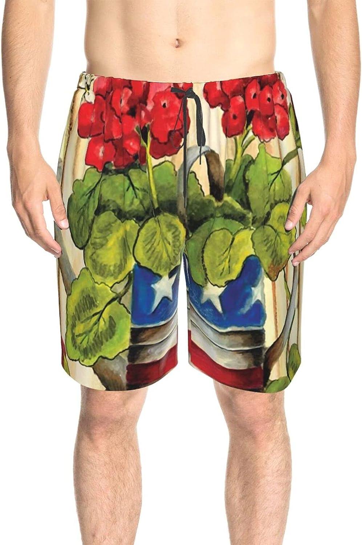 Men's Swim Shorts Geranium in USA Flag Vase Beachwear Board Shorts Drawstring Elastic Swimming Trunks with Lining
