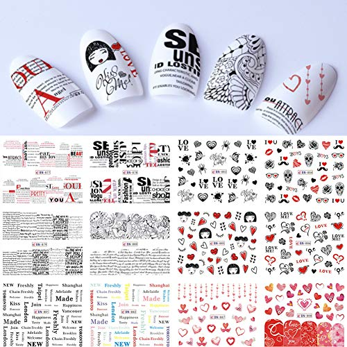 N-A 12 Love Designs Nail Art Decals Water Sticker Girl Text Line Slider Stencil Temporary Tips