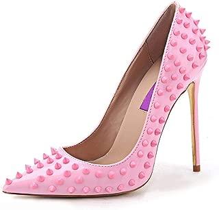 Jiu du Women's High Heel for Wedding Party Pumps Fashion Rivet Studded Stiletto Pointed Toe Dress Shoes