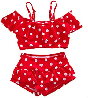 Baby Girl Cute Swimsuits Red 2 Pieces White Dot Skirt Swimwear Sets