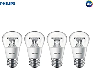 Philips LED Dimmable A15 Soft White Light Bulb with Warm Glow Effect 450-Lumen, 2700-2200-Kelvin, 5.5-Watt (40-Watt Equivalent), E26 Base, Clear, 4-Pack