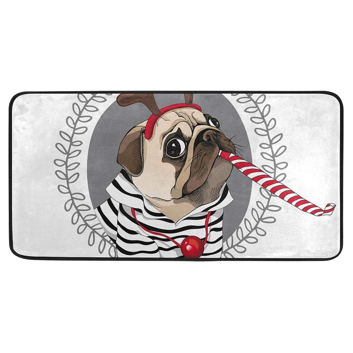 単なる命題快適SoreSore キッチンマット 洗える 滑り止め 台所マット バスマット ラグ カーペット 玄関 北欧 おしゃれ パグ クリスマス 犬柄 おもしろ 可愛い かわいい ホワイト 吸水 長方形 柔らか 丸洗い 台所用 インテリア 新居祝い プレゼント 99x50cm