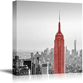 wall26 Black and White Photograph of New York with a Pop of Red on The Empire State Building - Canvas Art Home Decor - 16x16 inches