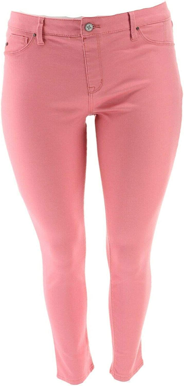 Laurie Felt Power Silky Denim Vibrant Skinny Pull-On Jeans Rose 1X New A310003