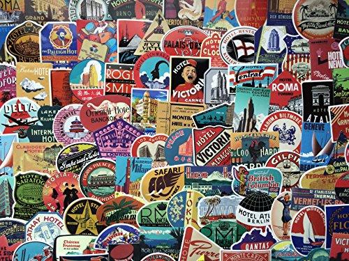 Set vinyl aufkleber Hotel, reise, travel, retro vintage , Jahrgang, Speicher,Fluggesellschaft, koffer, Gepäck laptop, (50)