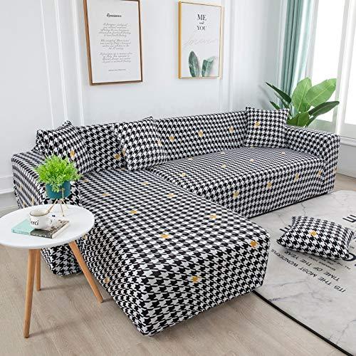 WXQY Funda de sofá elástica geométrica Simple combinación Todo Incluido Funda de sofá Antideslizante Funda de sofá de Esquina en Forma de L A14 2 plazas