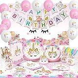 Shinelee Anniversaire Licorne Decoration Bannière Happy Birthday Toile de Fond Assiettes Sacs Papier Chapeau Nappe Filles Fête Anniversaire Licorne Sert 16 Invités
