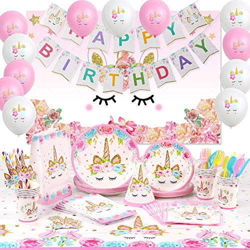 176 PCs Unicorn Party Supplies Birthday Decorations Girl Unicorn Paper Plates Cups Napkins Straws Cutlery Table Cloth Bags Hats Backdrop Banner Balloons Unicorn Party Decorations for Girls 16 Guests