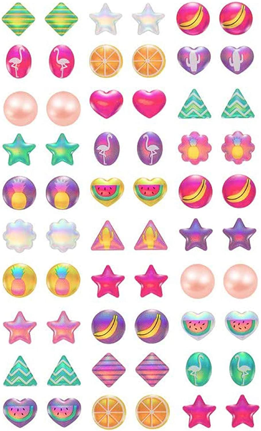 Stick 100% New product!! quality warranty on Earrings 30 Pack Cute Sticker Girl's Toddlers Earring