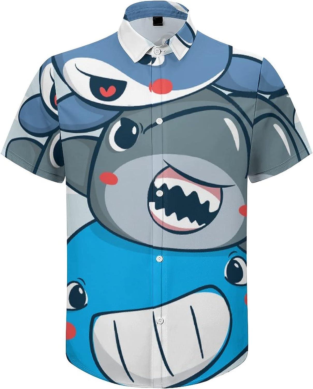 Men's Short Sleeve Button Down Shirt Baby Shark Dolphin Whale Cartoon Summer Shirts
