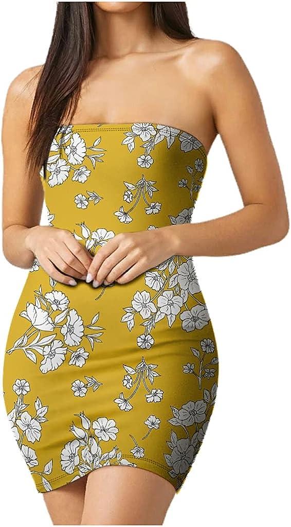 Plant FlowersWomen's Basic Summer Bodycon Tube Top Strapless Night Out Short Dress