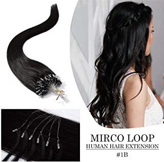 "Micro Loop Remy Human Hair Extensions Micro Ring Beads Link Tipped Human hair I Tip Hair with Keratin Bonds Nano Ring Straight Virgin Hair Extension 16"" 50g 100 Strands One Pack #1B Natural Black"