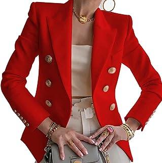 Blazer para Mujer Elegante Mangas Largas Chaqueta de Traje con Botones Dorados Corte Slim de Negocio Oficina Color Sólido