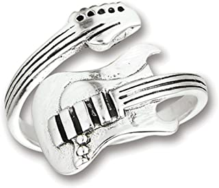 Adjustable Guitar Instrument Music Band Ring 925 Sterling Silver Band Sizes 7-12