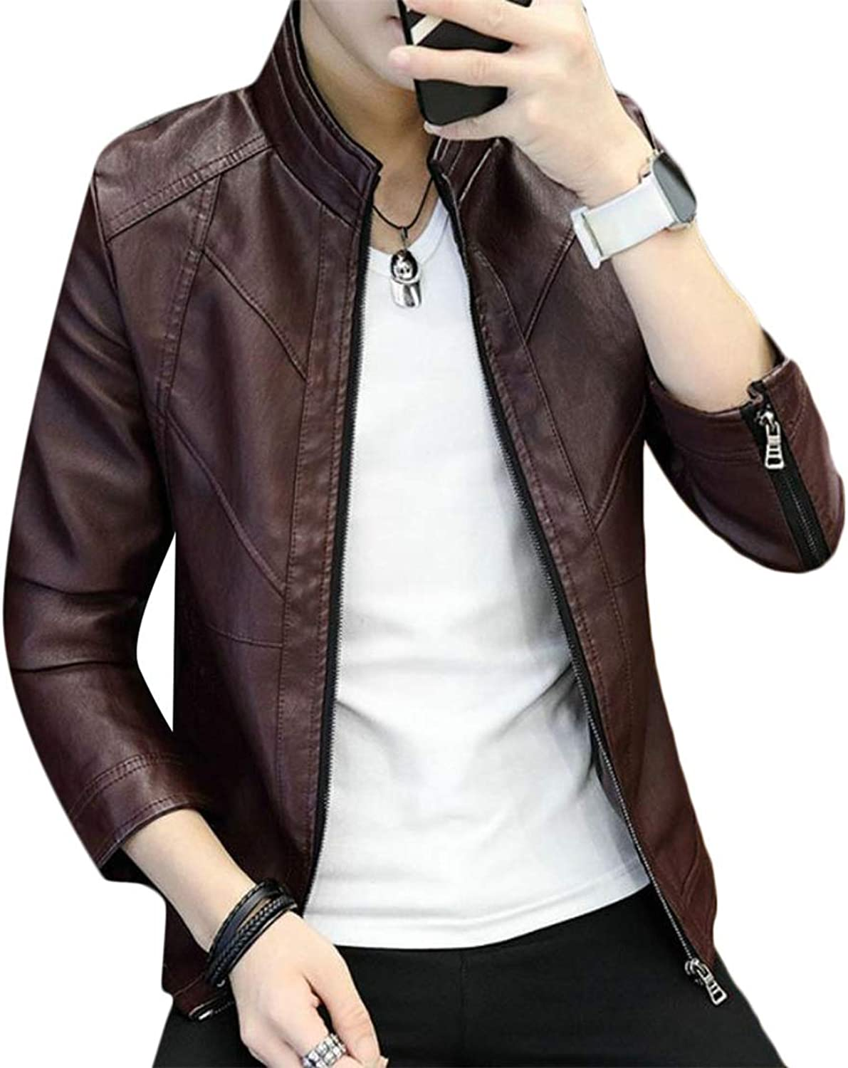 6f010488a76e Pandapang Men's Slim Fit Solid color color color Faux Leather Stand ...