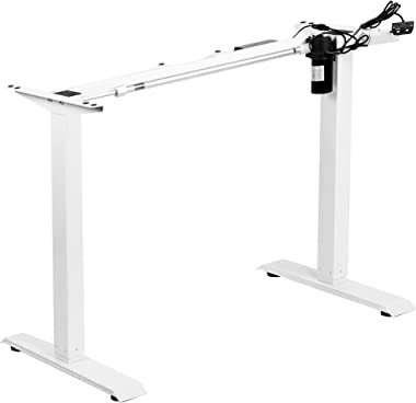 VIVO White Electric Stand Up Desk Frame Workstation, Single Motor Ergonomic Standing Height Adjustable Base with Simple Controller (DESK-V100EW)