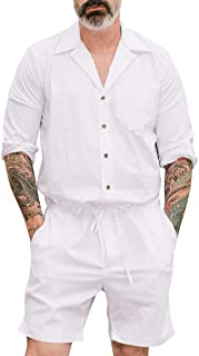 Tomwell Men's Summer Jumpsuit Casual Long Sleeve Solid Color Botton Down Dungarees Romper Playsuit Short Pants Beach Fashi...