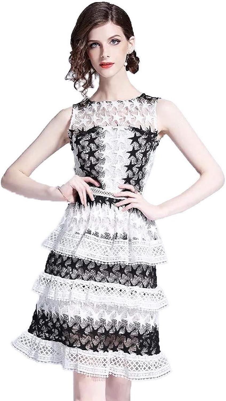 Faith Guardians Sleeveless Black White Knee Length 3 Layered Lace Dress