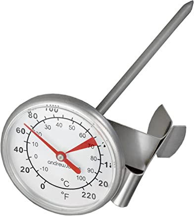 Andrew James Milk Thermometer | Long Probe Stainless Steel Temperature Thermometer with Clip for Frothing Foaming & Steaming | Suitable for Hot Milk Coffee Chocolate Soups Stocks & Other Liquids