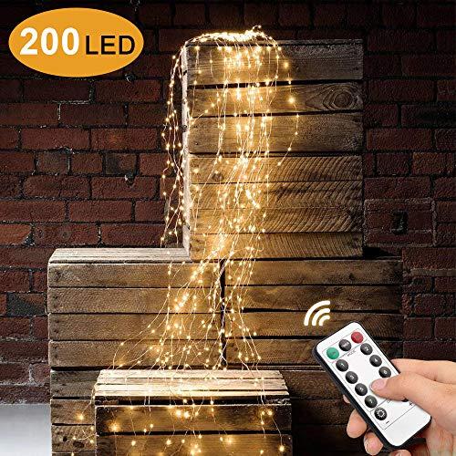 Sporgo Led Lichterbündel,2M 200 LED Wasserdichte Dekorative Wasserfall-String-Leuchten,8 Lichtmodi Led Lichterbündel mit Fernbedienung Für Outdoor,Garten,Party,Hochzeit,Weihnachtsbaum