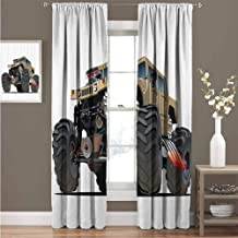 GUUVOR Cars Decor All Season Insulation Extremely Large Giant Monster Pickup Truck with Huge with Oversized Tires Racing Illustration Noise Reduction Curtain Panel Living Room W52 x L63 Inch Multi