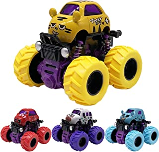 Monster Friction Powered Truck Toys Die Cast Vehicles Rotating Big Tire Wheel Car Playset, Toddler Toys Inertia Car Animal Picture Toys for 2 3 4 5+ Year Old Boys Girls(Random Colors、Random 2 Pack)