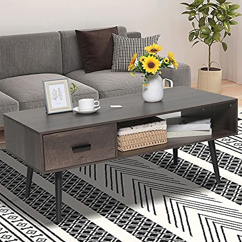 IWELL Mid-Century Coffee Table with 1 Drawer and Storage Shelf for Living Room, Cocktail Table, TV Table, Rectangular Sofa Table, Office Table, Elegant Functional Table, Dark Brown