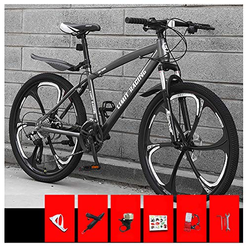 KXDLR Bicicleta de montaña, 26 Pulgadas Ruedas de Bicicleta Edad, Estructura de aleación de Aluminio desplazable Bloqueo Delantero Tenedor-Suspensión de Bicicletas de montaña,Gris,21 Speed