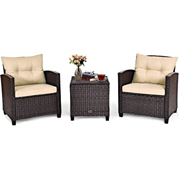 Tangkula 3 Pieces Patio Furniture Set, PE Rattan Wicker 3 Pcs Outdoor Sofa Set w/Washable Cushion and Tempered Glass Tabletop, Conversation Furniture for Garden Poolside Balcony (Beige)