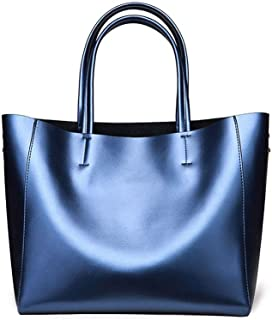 FengheYQ Europe and The United States Fashion Trends Leather Women's Bags Shoulder Tote Simple Large Capacity Fashion Party Shopping Bag Size:31 * 31 * 15cm (Color : Blue)