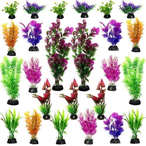 Plantes d'aquarium Plastique Décoration, PietyPet 25 Pièces Plante Aquarium Artificiel Coloré Plantes Aquatiques Décor réaliste pour Décoration d'aquarium, Petit à Grand ( 6 à 30cm )