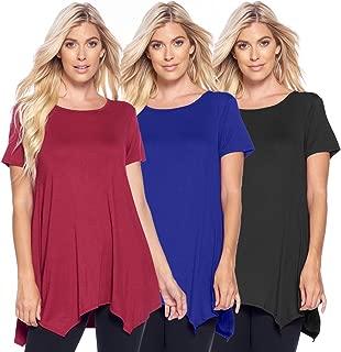 Isaac Liev Women's 3-Pack Flowy Short Sleeve Tunic Top