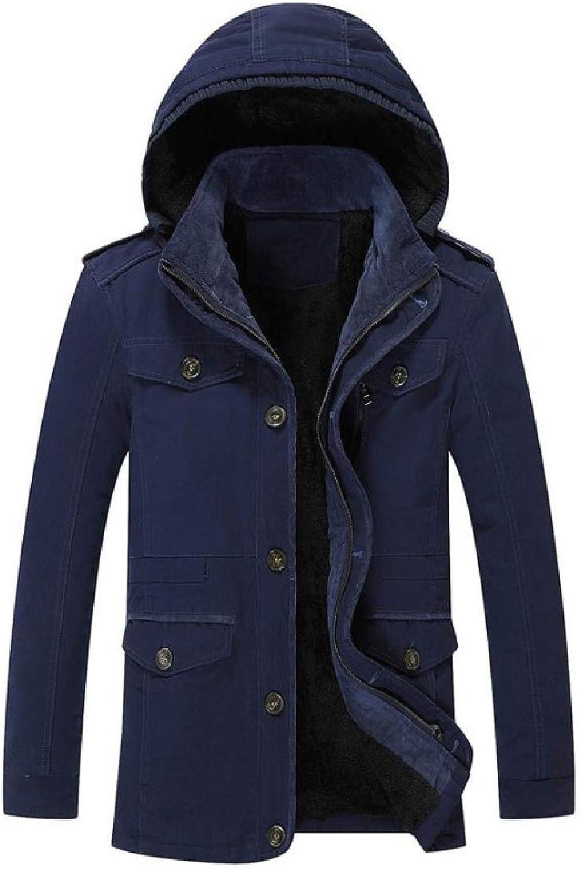 Abetteric Mens Cotton-Padded Clothes Plus Velvet Oversized Hooded Overcoat