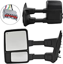 Roadstar Upgrade Towing Mirrors Fit for 1999-2007 Ford F250 F350 F450 F550 Super Duty Tow Mirrors Pair Set Power Heated Glass with LED Smoke Signal Telescoping Pickup Truck Side View Mirrors