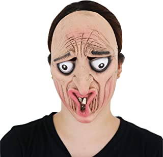 Waltz&F Halloween Funny Silly Faces Stare Frowning face mask Latex Mask for Costume Party or Cosplay