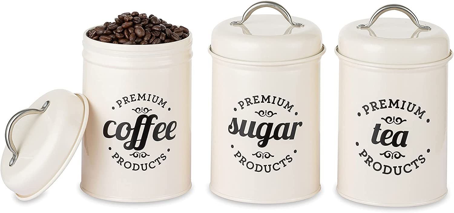 Hanobe Kitchen Food Canister Decorations with Airtight Lids & Handles, Set of 3 Black Metal Rustic Farmhouse Country Decor Containers for Sugar Coffee Tea Canister, Designs Countertop Tin
