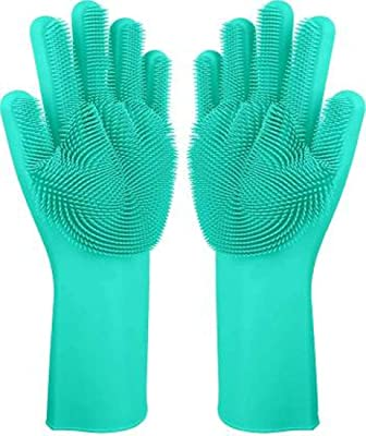 KOMTO Silicone Scrubbing Gloves, Non-Slip, Dishwashing and Pet Grooming, Magic Latex Gloves for Household Cleaning Great for Protecting Hands in Dishwashing (Color - Random Color)