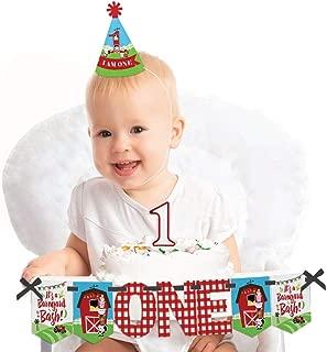 Big Dot of Happiness Farm Animals 1st Birthday - First Birthday Boy or Girl Smash Cake Decorating Kit - High Chair Decorations