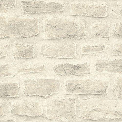 rasch Tapete 860603 aus der Kollektion b.b home passion VI – Vliestapete in heller Stein-Optik – 10,05m x 53cm (L x B)