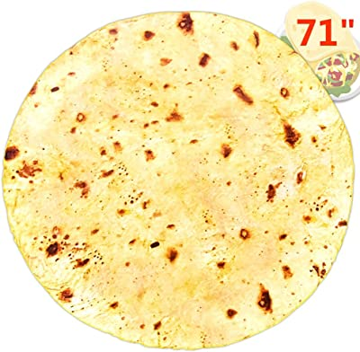 CIICII 71 Inch Realistic Burrito Tortilla Blanket for Adult and Kids, Wearable Round Food Taco Throw Blanket for Your Family, Comfort Novelty Decorative Bed Blanket for Human and Pets (Yellow-B)