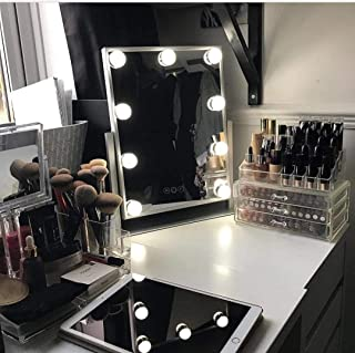 Hollywood Lighted Vanity Makeup Mirror,Plug in Light-up Girls Professional Mirror,Removable10x Magnification,3 Color Lighting Modes, Children Cosmetic Mirror with 9 Dimmable Bulbs for Dressing Desk