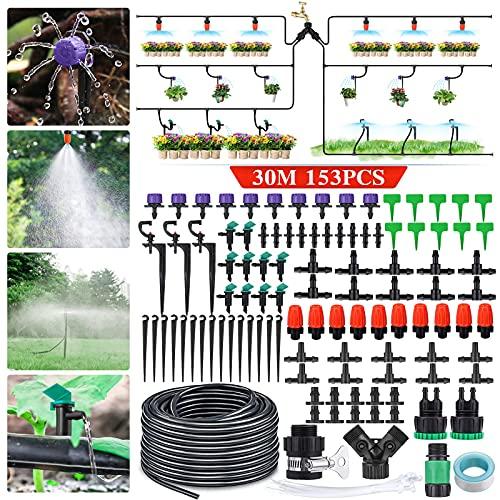 king do way 29m Bewässerungssystem Garten, 153Pcs Bewässerung Kit, Mikro Drip Bewässerungssets, Automatischer Tröpfchenbewässerung, für Garten, Gewächshaus, Blumenbeete, Obstbäume, Zimmerpflanzen