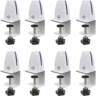 8個取り付け 固定金具 仕切り板スタンド、デスクトッププライバシーパネルクリップブラケット,机上パーテーション クランプ式台座 調整可能,白 (Color : 白い)