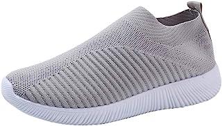 Chaussures Femme Ete Confortable Pas Cher Soldes Baskets Basses Plate Running Jogging Sport Respirant Mesh Chaussette Fill...