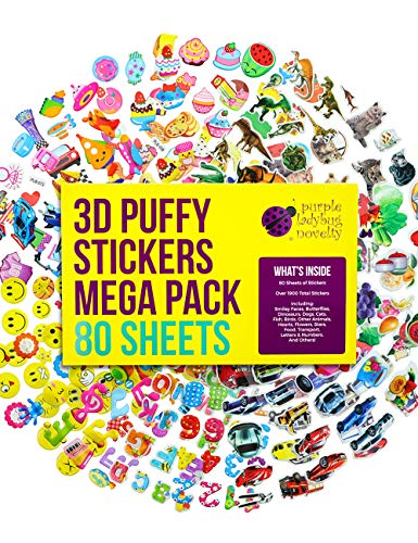 Purple Ladybug 3D Puffy Stickers for Kids & Toddlers Mega Variety Pack - 80 Different Sticker Sheets with 2000 Cute Stickers in Bulk! Includes Stars, Animals, Alphabet, Cars, Emoji Faces, and More!