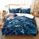 XWXBB Duvet Cover Sets Gundam Microfiber Bedding,Warm and Breathable,Zippered Duvet Cover,Skin-Friendly, Comfortable Sleep, Suitable for Spring, Summer, Autumn and Winter (A10,Queen: 228x228cm)