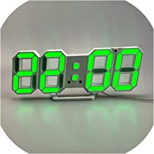 Xinny Digital Wall Clock 3D LED Alarm Clock Electronic Desk Clocks with Large Temperature 12/24 Hour Display,WhiteGreen