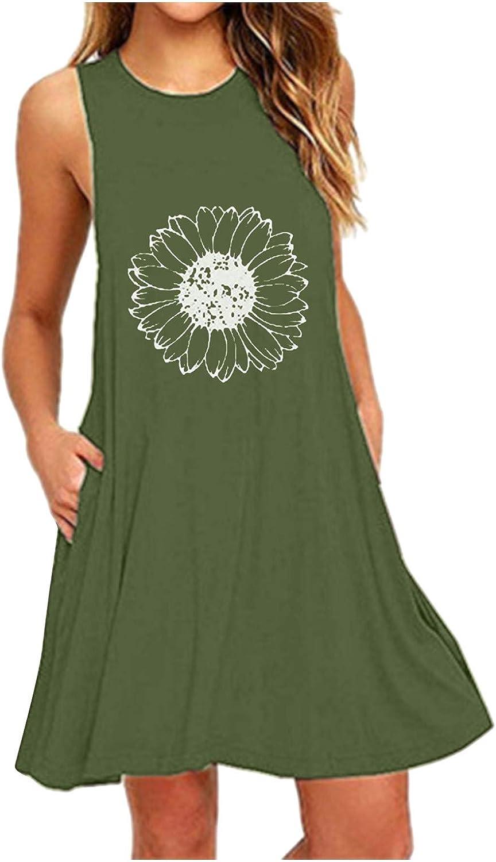 Toeava Women's Swing Dress Summer Fashion Casual Ruffle Flower Print Sleeveless Loose Mini Dress Nightdress with Pockets