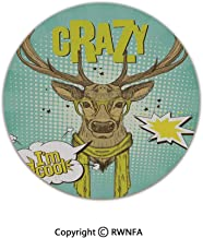 3D Printed Modern No-Shedding Non-Slip Rugs,Hipster Deer Glasses Scarf Im Cool Speech Bubble Pop Art Style 2' Diameter Mint Green Yellow Brown,Machine Washable Round Bath Mat